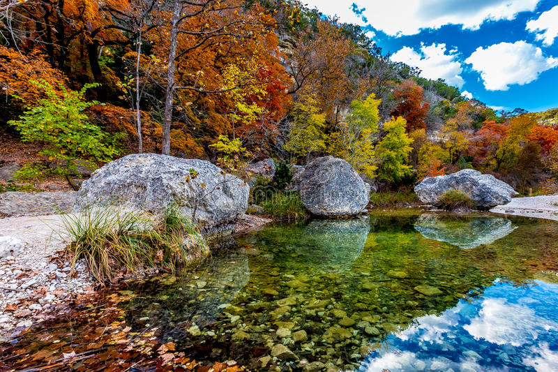 Crystal Pool with Fall Foliage at Lost Maples State Park, Texas stock image