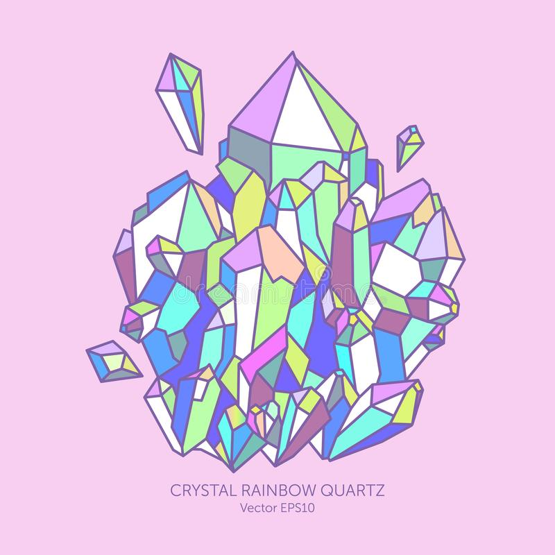Crystal rainbow quartz in pastel colors royalty free stock image
