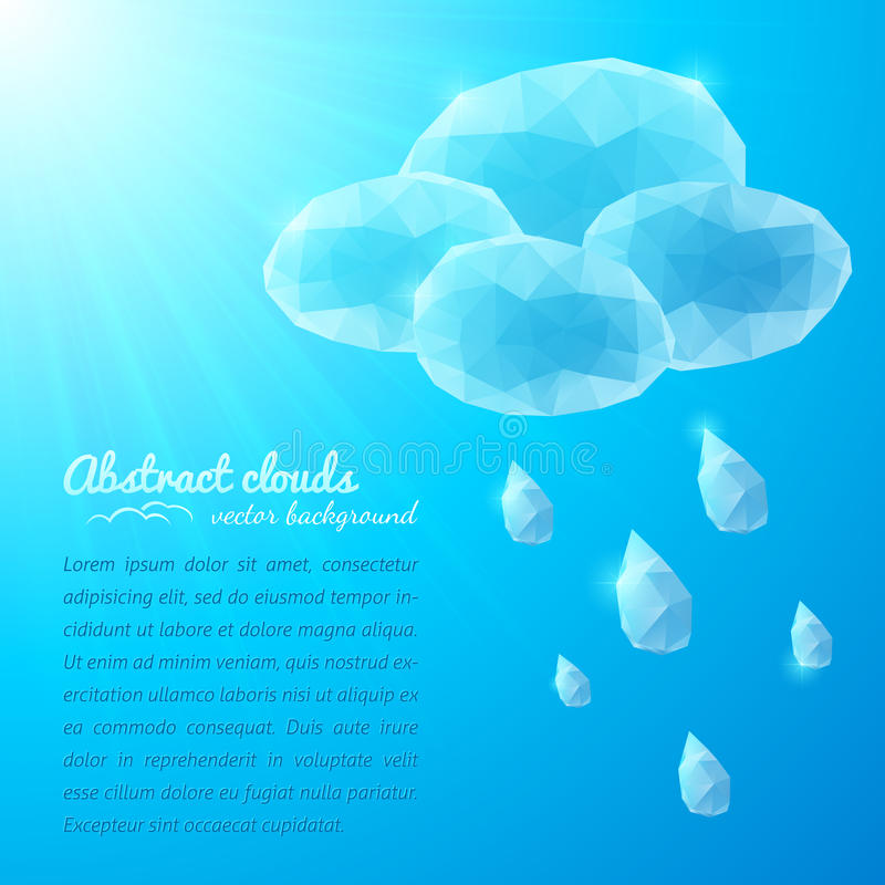 Crystal rainy cloud abstract background stock illustration