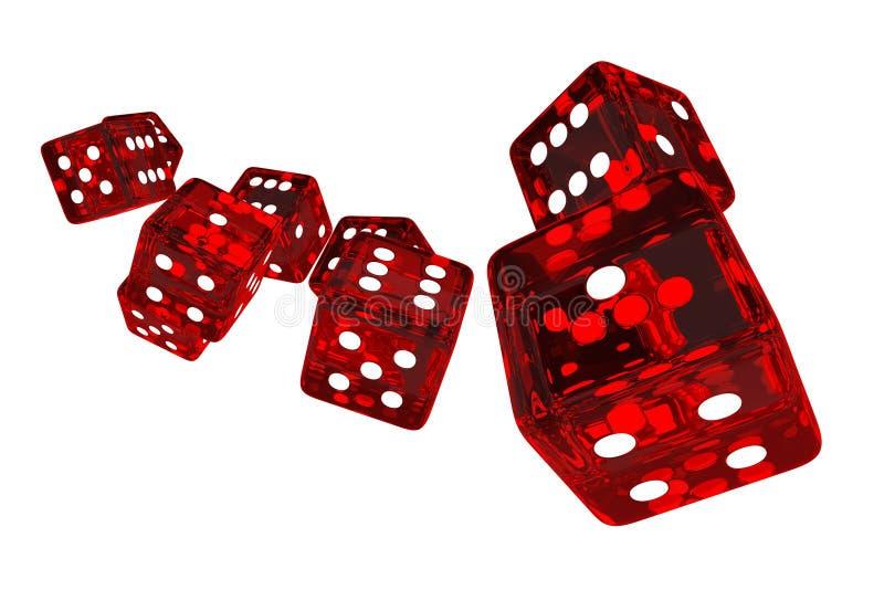 Crystal Red Casino Dices ilustração stock