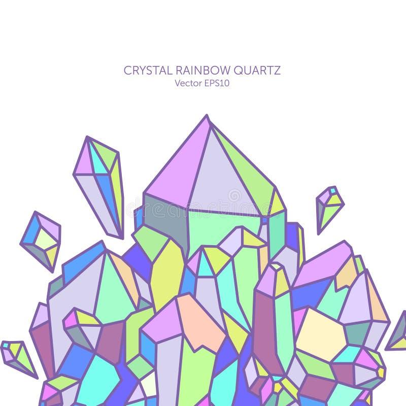 Crystal regnbågekvarts i pastellfärgade färger royaltyfri fotografi