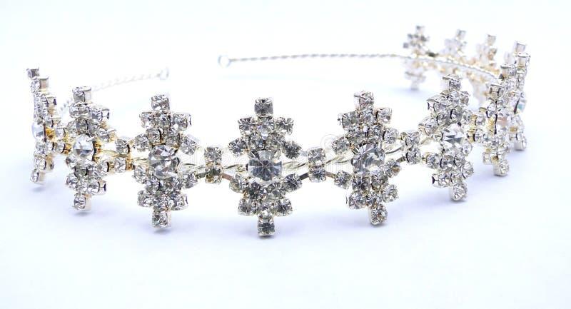 Crystal Rhinestone Tiara. A silver tiara with white crystal rhinestones stock images