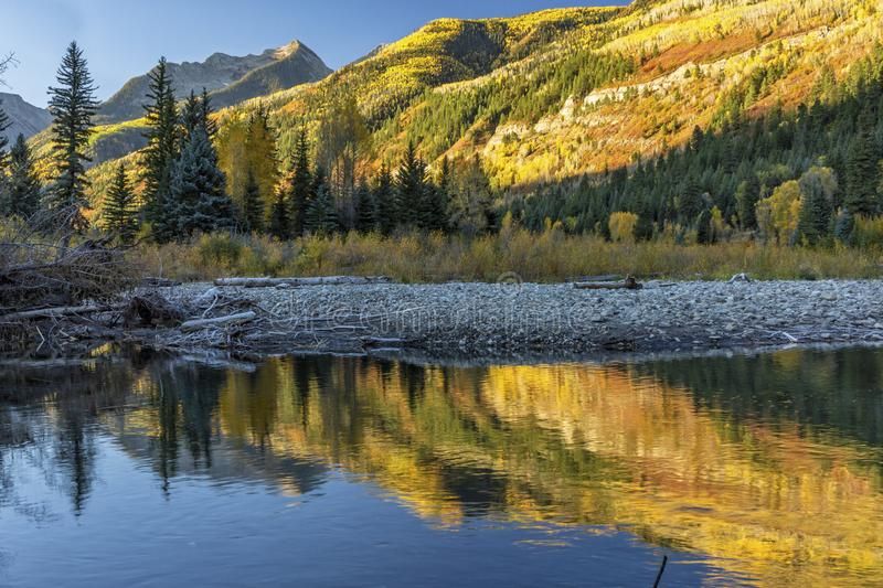 Crystal River Autumn Reflections. Autumn vIew of the Crystal River valley from below McClure Pass near Marble, Colorado stock image