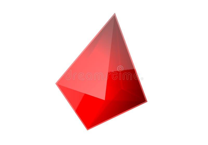 Crystal Ruby Gem 3d illustration isolerad tillgång vektor illustrationer
