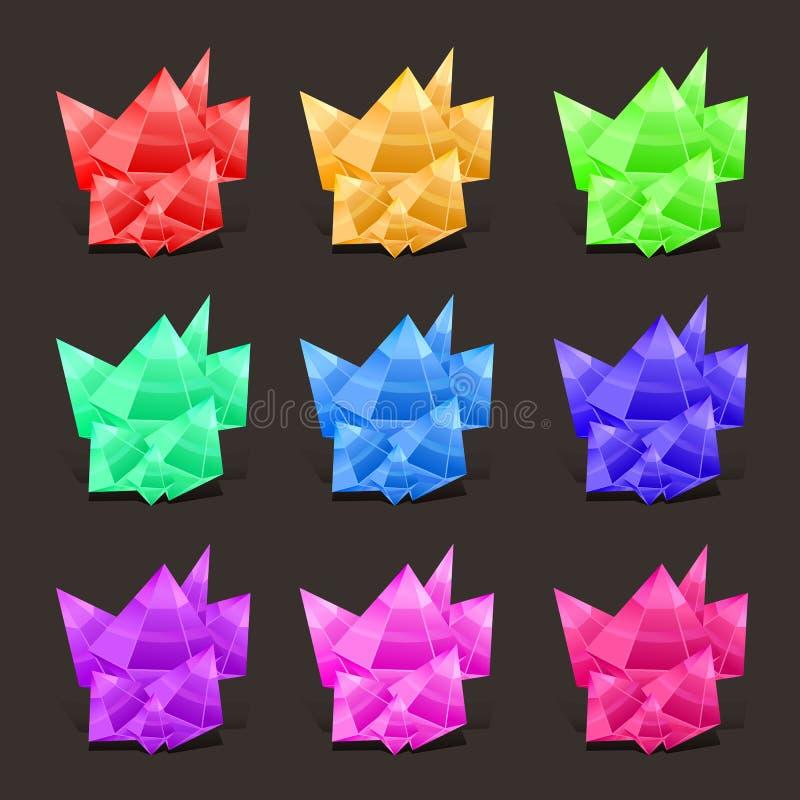 Crystal Set cores diferentes Pedra de pedra ou preciosa de cristal Mágica de pedra preciosa, cristais da fantasia e semiprecioso ilustração do vetor
