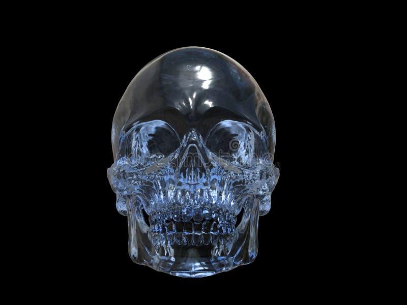 Crystal skalle - främre sikt royaltyfri illustrationer