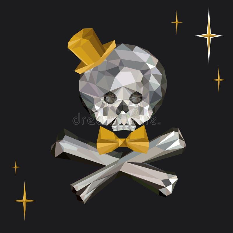 Crystal Skull et os croisés avec le lien et le chapeau supérieur dans le style polygonal illustration stock