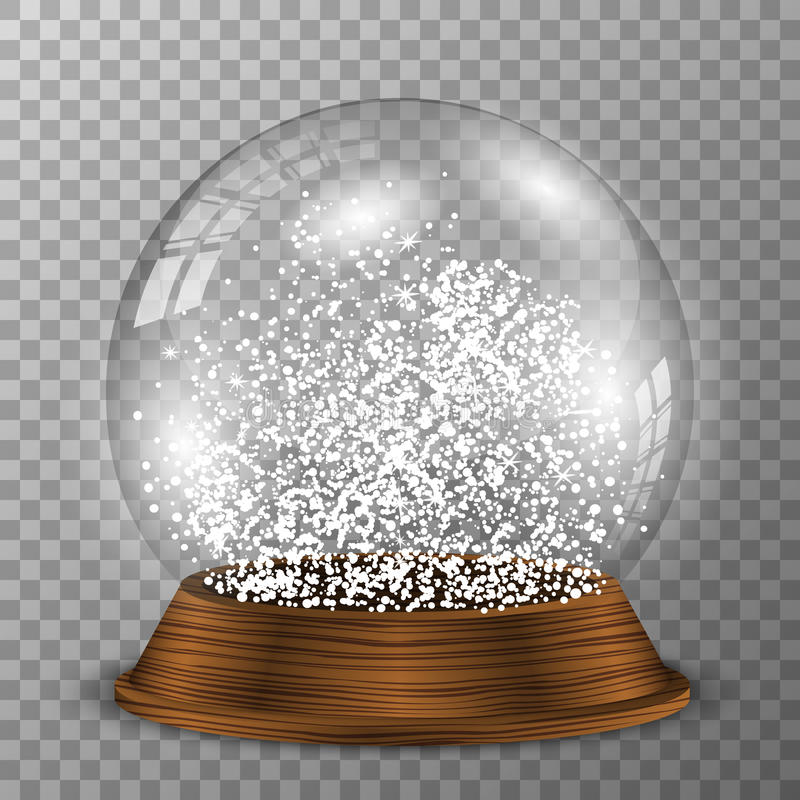 Crystal snöjordklot på träsockel Genomskinlig vektorsnowglobe med wood garnering royaltyfri illustrationer