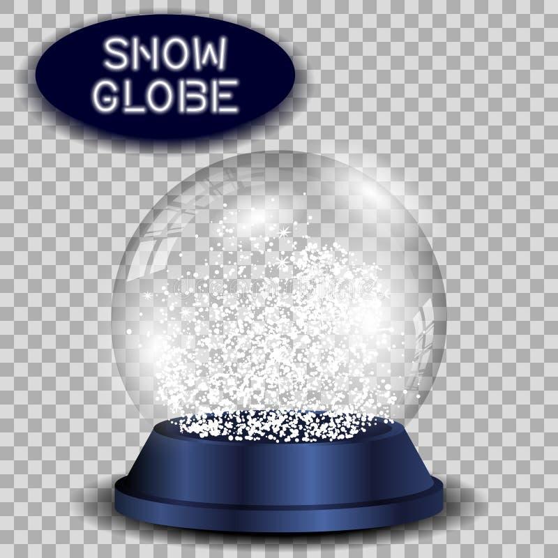 Crystal snöjordklot som är genomskinligt och isoleras stock illustrationer