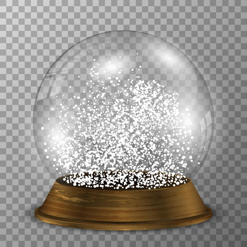 Crystal snow globe on wood stand. Transparent vector snowglobe with wood decoration. stock illustration