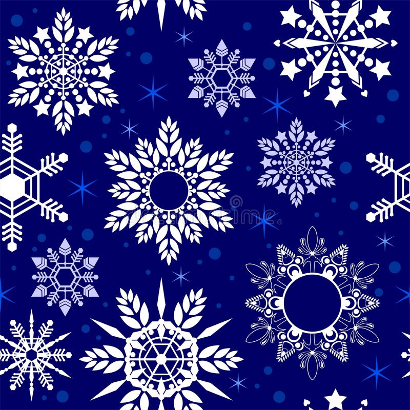 Crystal Snowflake seamless pattern texture in blue Porcelain tone royalty free illustration