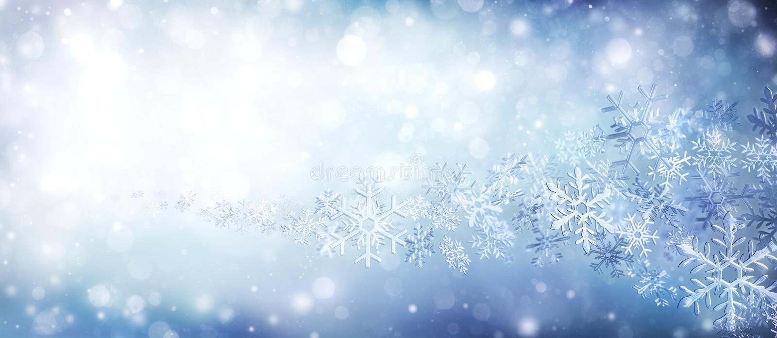 Crystal Of Snowflakes In Swirl. Wintertime royalty free stock image