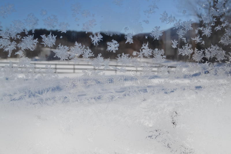 Crystal Snowflakes on Window 14 royalty free stock image