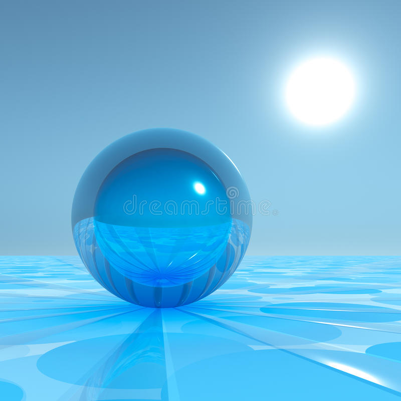 Crystal Sphere bleu sur l'horizon surréaliste illustration libre de droits