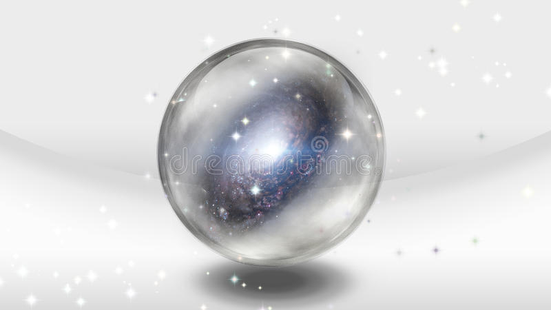 Crystal Sphere con la galaxia ilustración del vector