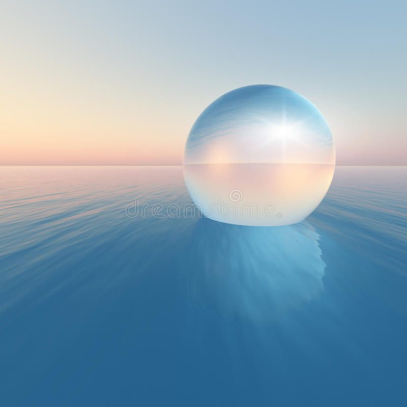 Crystal Sphere Floating Sunrise vektor abbildung