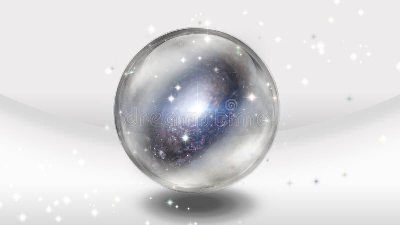 Crystal Sphere med galaxen vektor illustrationer