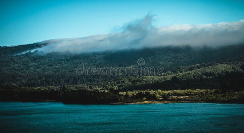 Crystal Spring Lake fog rolling into lake. Crystal Spring Lake Ca. rolling fog will cover the in 1hour royalty free stock image