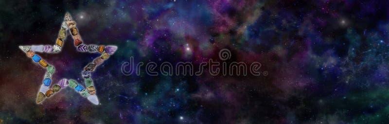 Crystal Star Background Banner cósmico ilustração royalty free