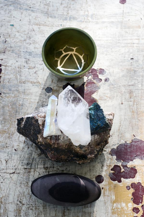 Crystal And Stones With Sound Healing Bowl stock photography