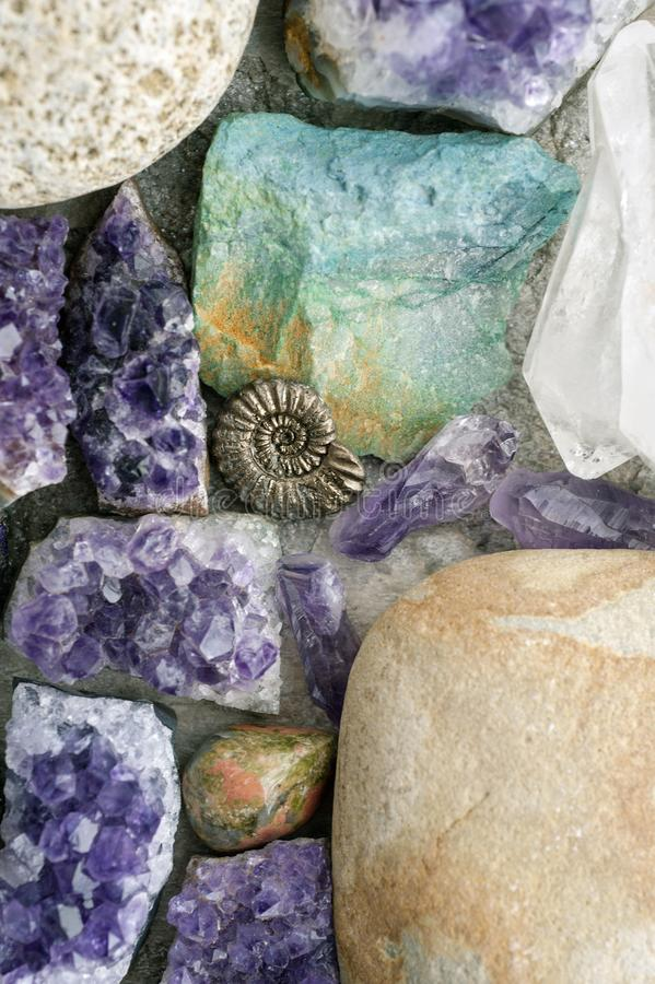 Crystal And Stone Healing Rocks stock foto's
