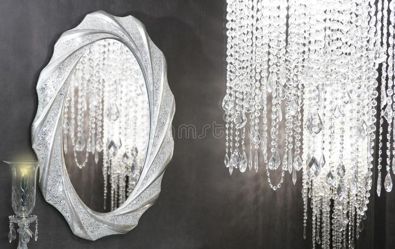 Crystal strass lamp oval mirror modern decoration royalty free stock photography