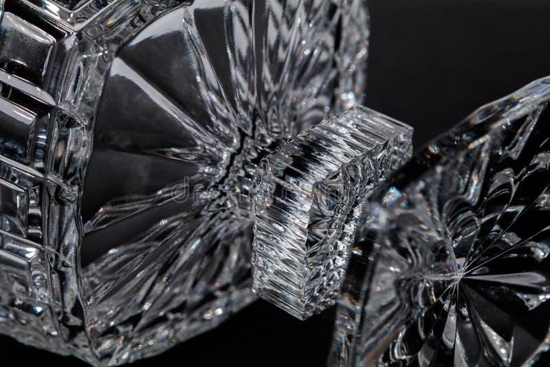 Crystal Sugar bowl  on a black background stock photos
