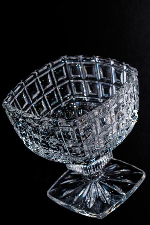 Crystal Sugar bowl isolated on a black background royalty free stock image