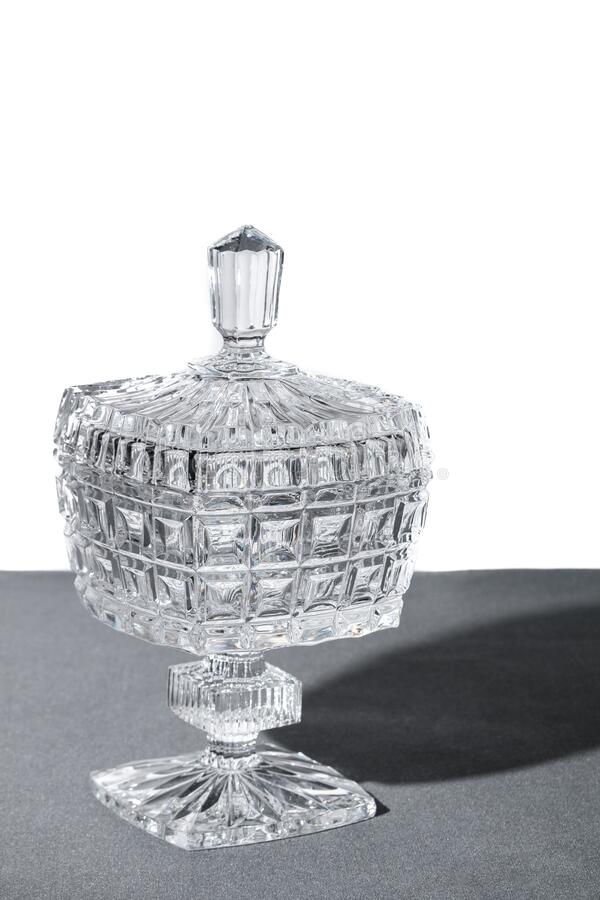Crystal Sugar bowl isolated on a white gray background royalty free stock photos