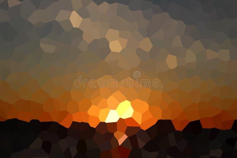 Crystal Sunset Over Dark Sea abstrato ilustração stock