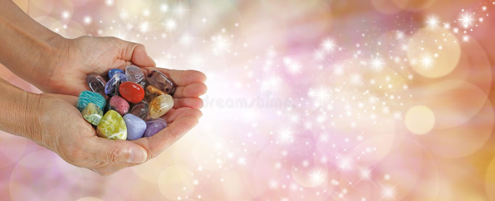 Crystal Therapist Sparkling Website Banner stock photos
