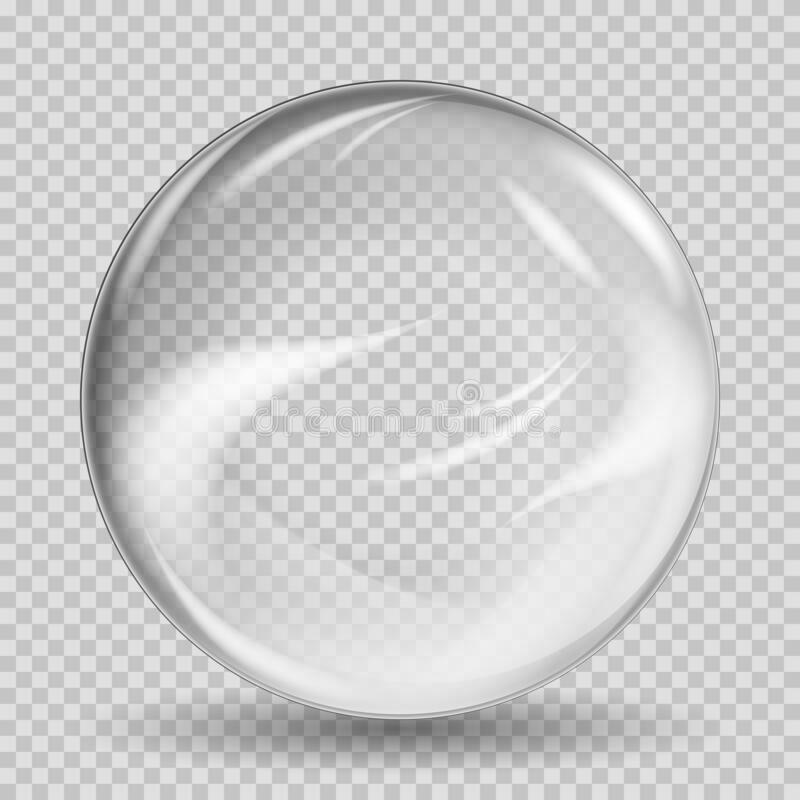 Free Crystal Translucent Marble Sphere With Reflections On Transparent Vector Background. Royalty Free Stock Images - 180887269