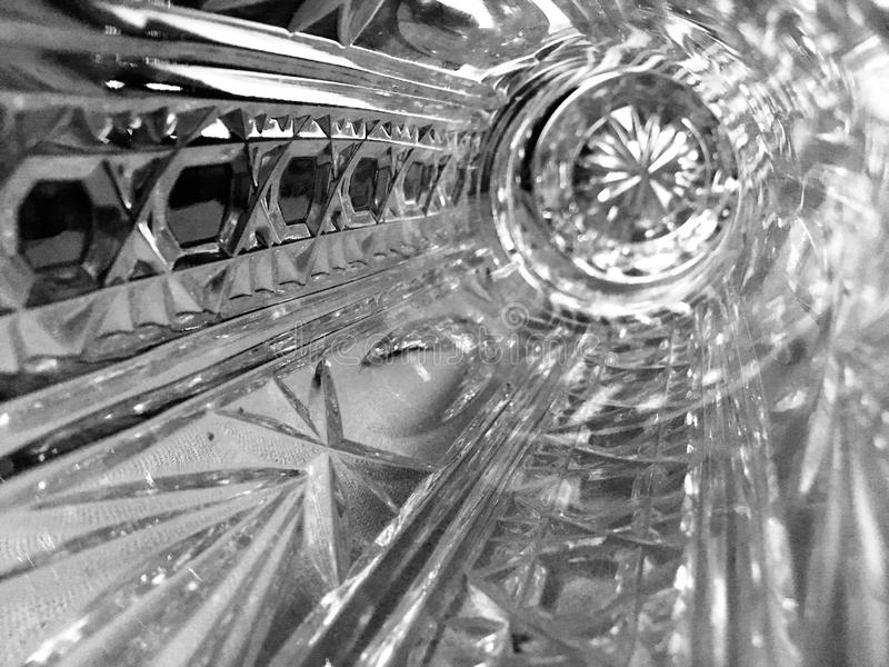 Crystal vase. Beautiful, clear crystal vase from an unexpected viewpoint royalty free stock photo