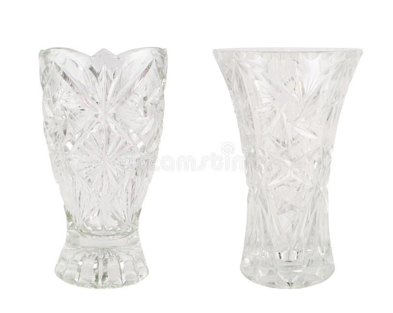 Crystal vase glass vessel isolated stock image