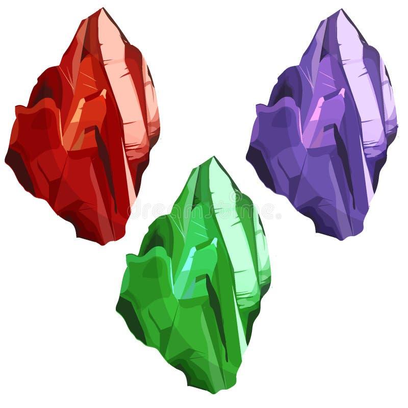 Crystal vektoruppsättning Kristallisk sten eller ädelsten dyrbar gemstone Magiska kristaller och halvädelstenvektoruppsättning royaltyfri illustrationer