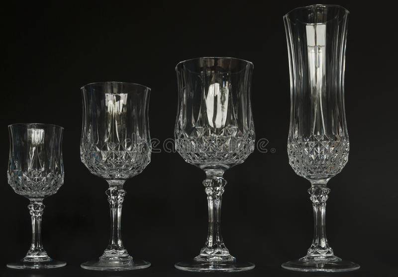 Crystal wine glasses stock photography
