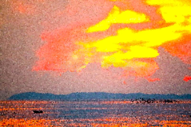 Crystalize flame cloud sunset on sea ray colorful sky. Crystalize flame cloud sunset on sea and ray colorful sky background abstract blue boat bright cloudscape royalty free stock photography