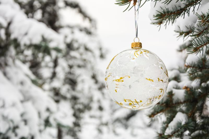 Crystalline Christmas tree ball on a snow-covered tree branch. Crystalline Christmas tree ball with white and golden ornament on a snow-covered tree branch stock images