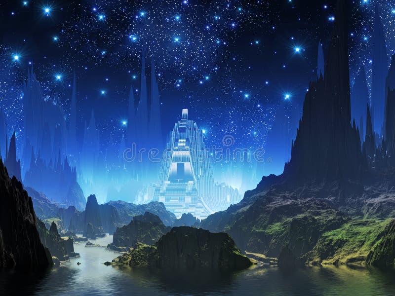 crystalline lampa för blå stad vektor illustrationer