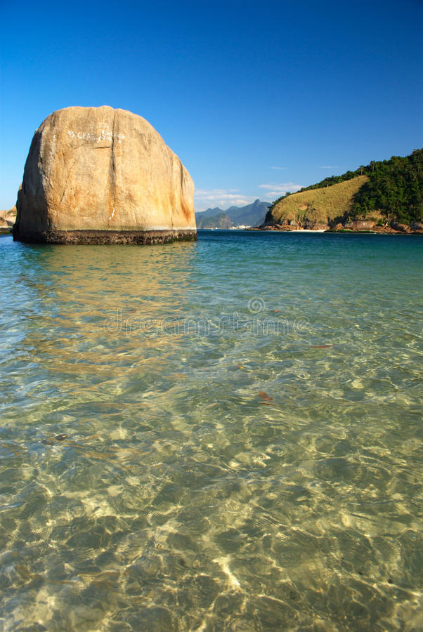 Crystalline sea beach in Niteroi, Brazil stock photos