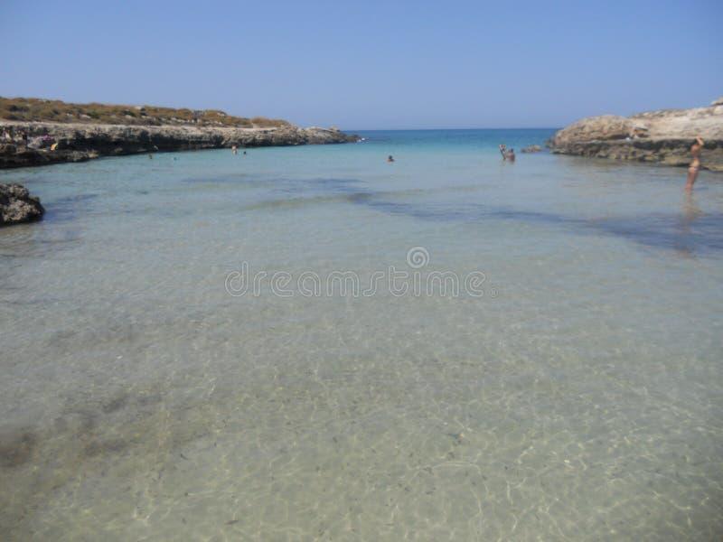 Crystalline sea in Puglia at ostuni stock photography