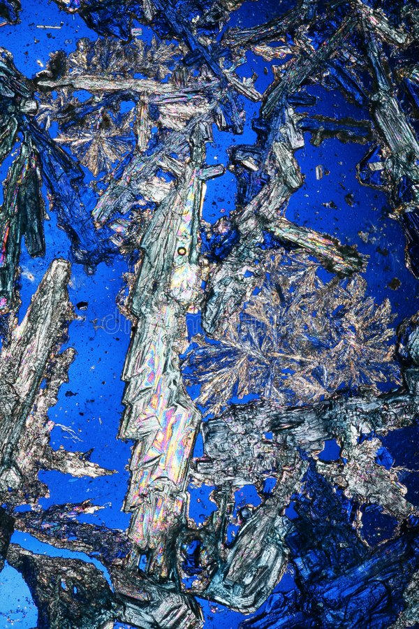 Crystals on Blue. Clear crystals on bright blue background stock photography