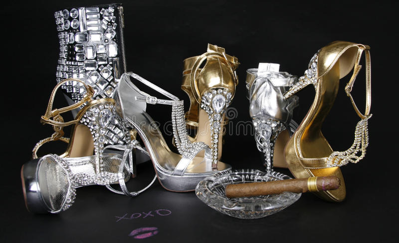 Download Crystals Encrusted Shoes Collection And Cigar Royalty Free Stock Image - Image: 23715176