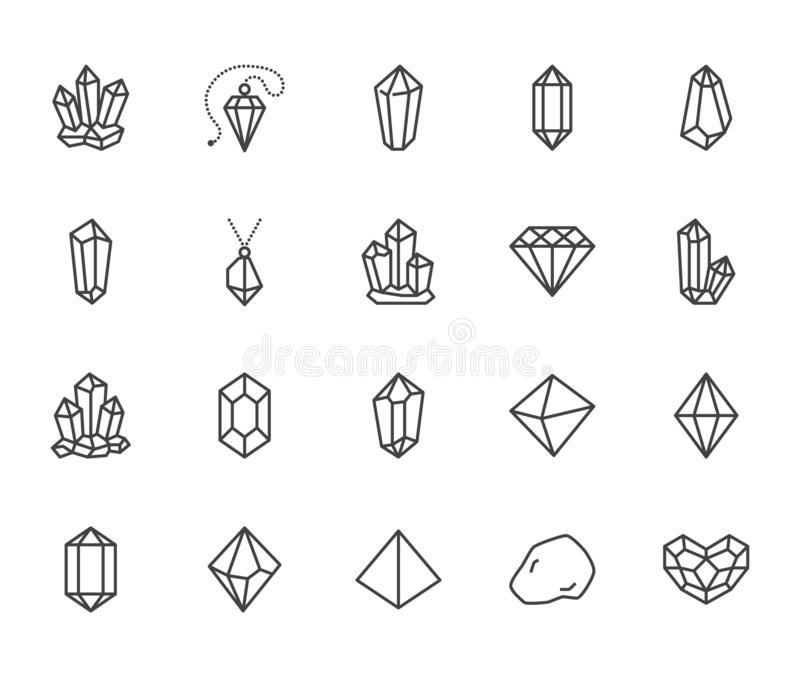 Crystals flat line icons set. Mineral rock, diamond shape, salt, abstract gemstone, magic crystal vector illustrations vector illustration