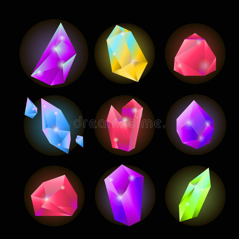 Crystals or gemstones and precious gem stones vector icons set. Crystals or gemstones and precious gem stones vector icons. Shining jewels and diamonds of blue stock illustration