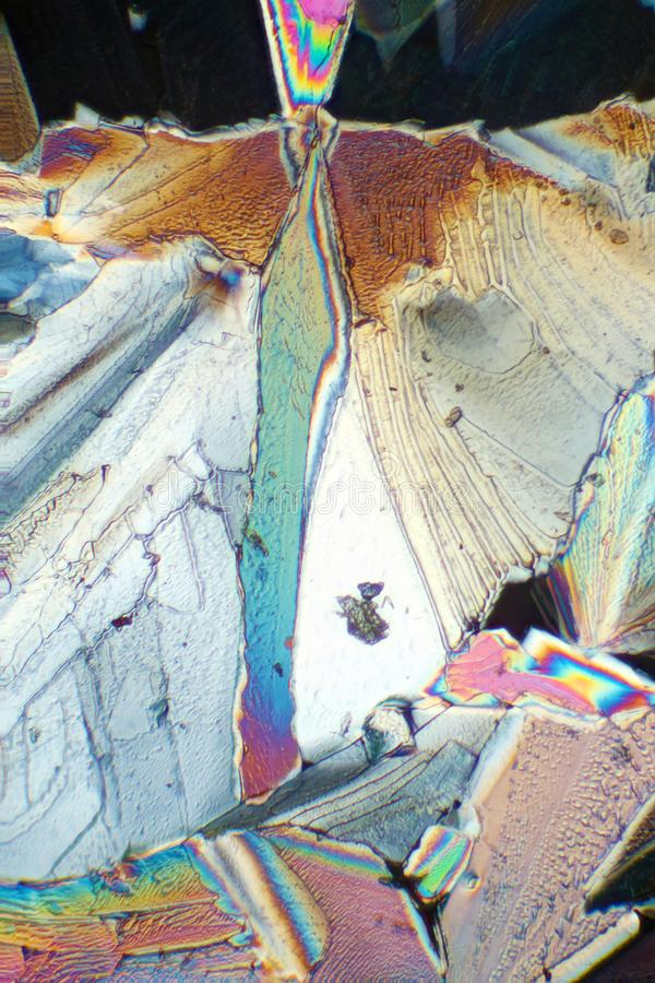 Crystals in polarized light stock photography