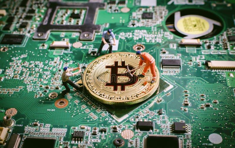Crytocurrenciesconcept van de Bitcoin digitaal munt blockchain stock afbeeldingen