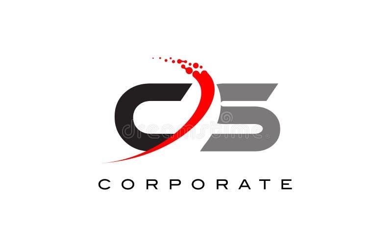 CS moderner Buchstabe Logo Design mit Swoosh stock abbildung