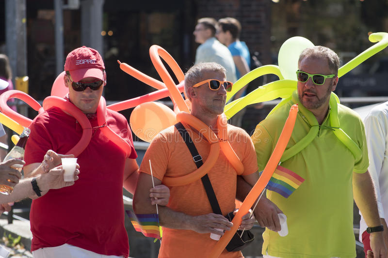 CSD (Christopher Street Day) in Luebeck, Germany, colorful cost. Luebeck, Germany, August 22, 2015: CSD (Christopher Street Day) gay pride parade in Luebeck stock photos