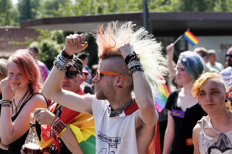 CSD gay pride parade in Luebeck, Germany 2015, punks and rainbo. Luebeck, Germany, August 22, 2015: CSD (Christopher Street Day) gay pride parade in Luebeck royalty free stock photos